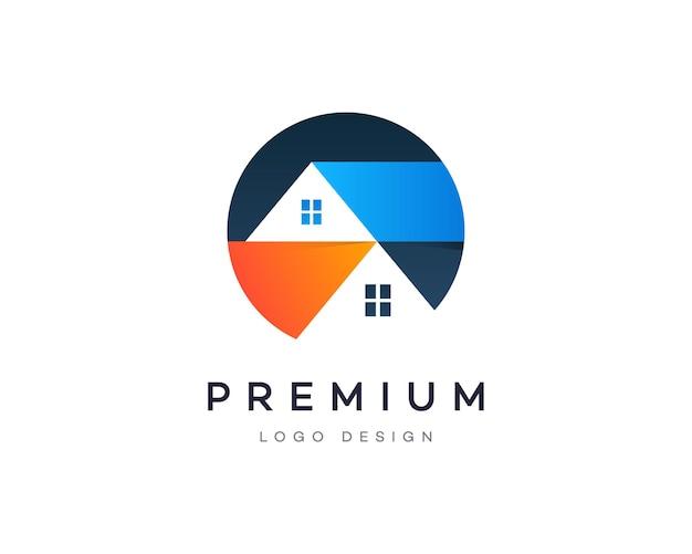 Maison de style dégradé attrayant ou maison propriété immobilière entreprise création de logo vectoriel