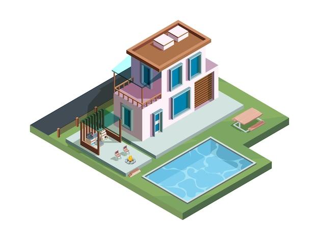 Maison avec terrasse extérieure dans jardin en vue isométrique
