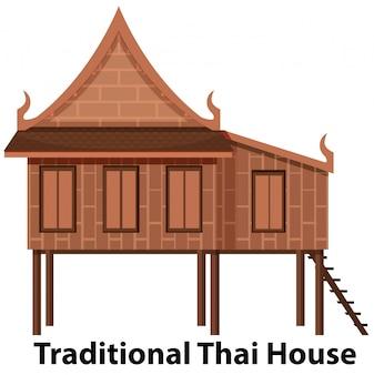 Maison thaïlandaise traditionnelle sur fond blanc