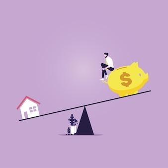 Maison et tirelire avec homme d'affaires en équilibre sur une balançoire