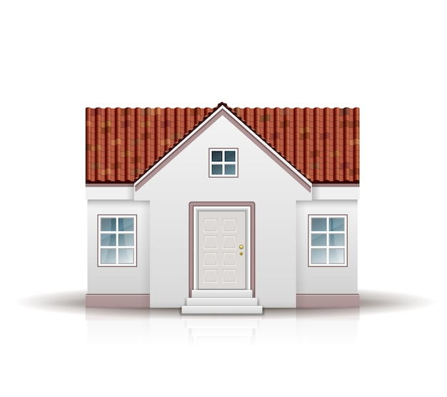 Maison avec toit rouge isolé