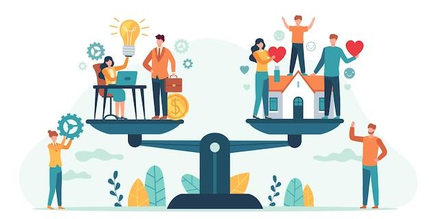 Maison et travail à l'échelle. femme et homme équilibrant famille et carrière. les gens d'affaires comparent l'amour, les enfants, le travail. équilibrer le concept de vecteur de vie. illustration comparaison finance comparer famille
