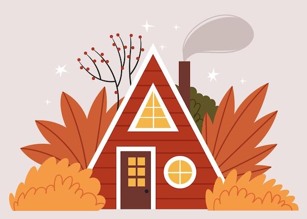 Maison triangulaire rouge au milieu de la forêt d'automne. illustration mignonne scandinave.