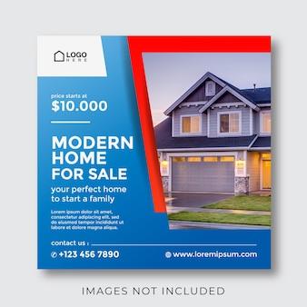 Maison à vendre et bannière de propriété immobilière pour publication sur les médias sociaux