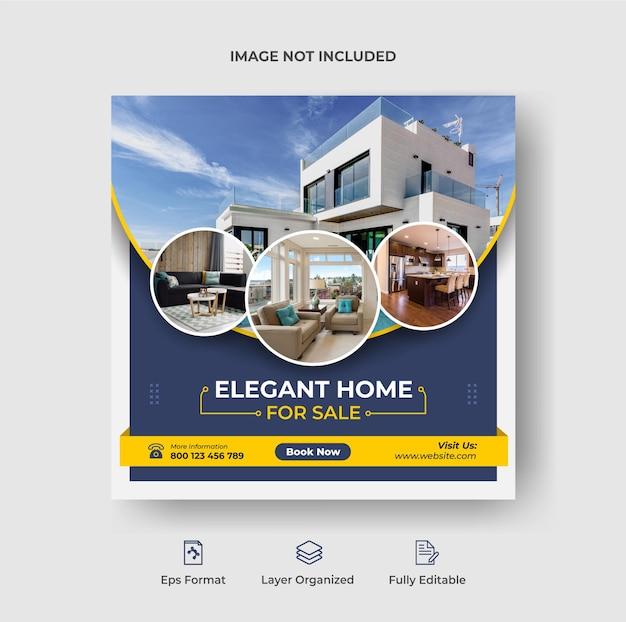 Maison à vendre bannière de publication instagram sur les médias sociaux ou modèle de flyer carré vecteur premium
