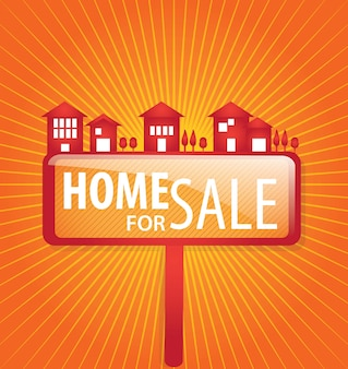 Maison à vendre sur fond orange