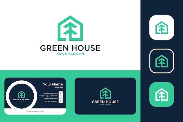 Maison verte avec création de logo d'arbre et carte de visite
