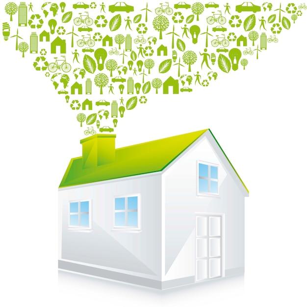 Maison verte avec icônes ove fond blanc illustration vecto