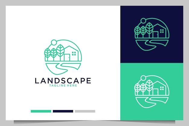 Maison verte de paysage avec la conception de logo de style d'art de ligne d'arbre