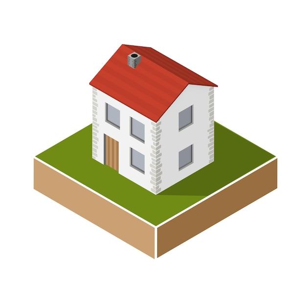 Maison de village en projection isométrique