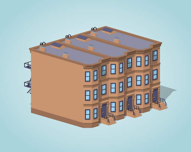 Maison de ville low poly brownstone