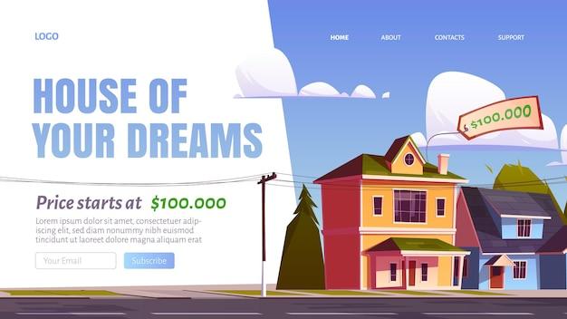 Maison de votre page de destination de dessin animé de rêve