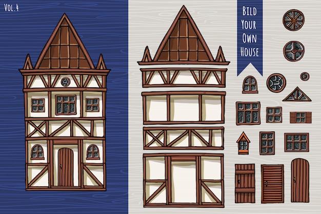 Maisons allemandes, collection d'éléments, objets, toit, fenêtres, portes. style mignon d'architecture fahverk. dessiné à la main.