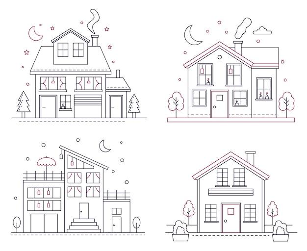 Maisons américaines de banlieue en ligne mince. bâtiments civils d'architecture classique