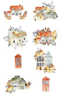 Maisons d'aquarelle avec éléments floraux