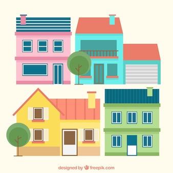 Maisons colorées au design plat
