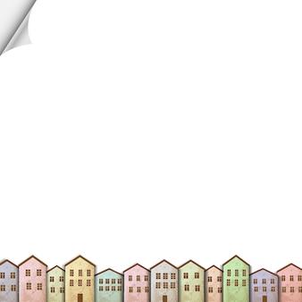 Maisons colorées sur du papier blanc