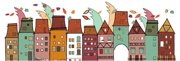 Maisons colorées vieille ville vintage thin line village