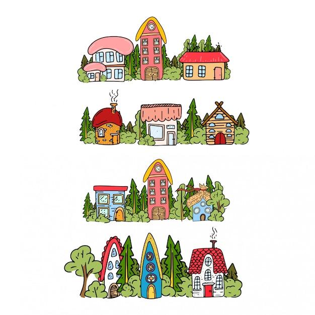 Maisons de contes de fées en forêt