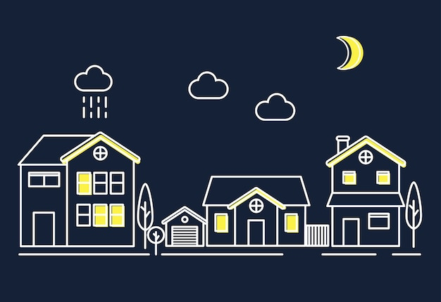Maisons dans la nuit