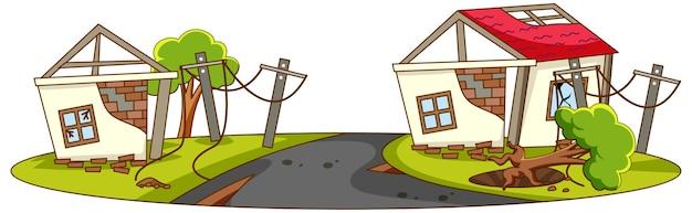 Les maisons détruites par une catastrophe naturelle
