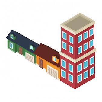 Maisons et édifices isométriques