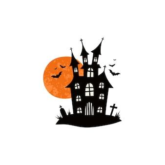 Maisons hantées pour les châteaux d'halloween avec des monstres tamis de maison noirs illustration vectorielle pour les enfants