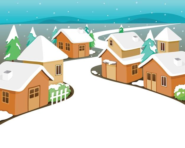 Maisons d'hiver couvertes de neige en ville