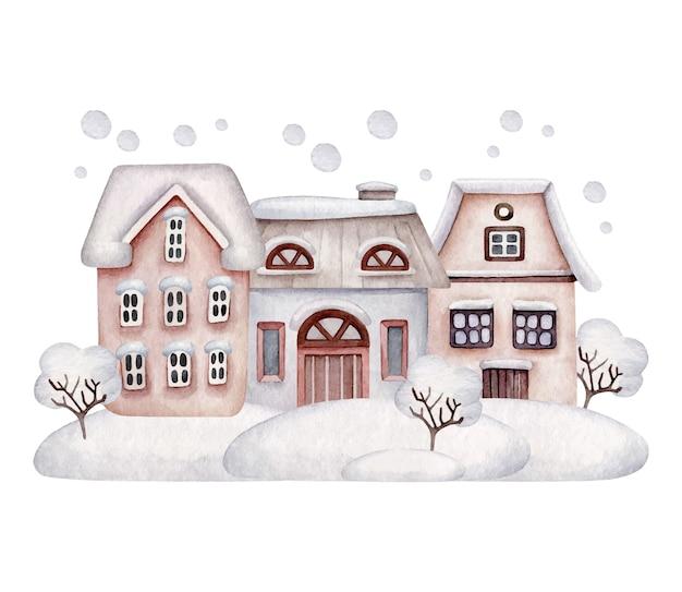 Maisons d'hiver dans la neige