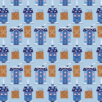 Maisons d'hiver de modèle de noël avec des cadeaux. fond bleu de noël pour l'emballage cadeau. illustration transparente de vecteur plat moderne