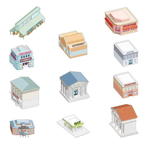 Maisons isométriques et magasins