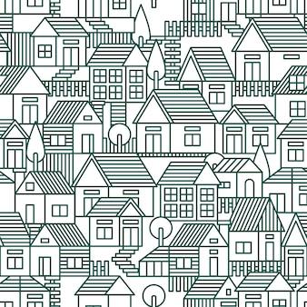 Maisons modèle sans couture vector illustration de ligne