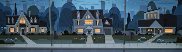 Maisons nuit vue banlieue de la grande ville
