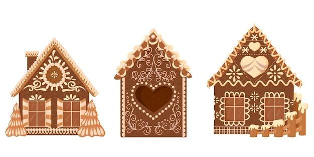 Maisons en pain d'épice avec décorations en bonbons et glaçage. gâteries de noël.