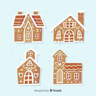 Maisons en pain d'épice dessinées à la main
