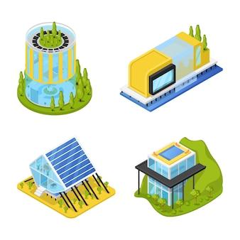 Maisons privées futuristes avec des plantes
