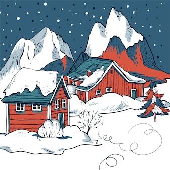 Maisons rouges d'hiver couvertes de neige