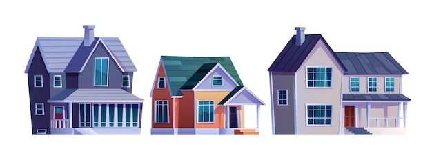 Maisons rurales cottages avec icônes de bâtiments de garage