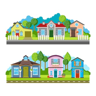 Maisons de village résidentielles, paysage urbain