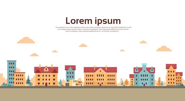 Maisons vue ville bannière avec espace copie