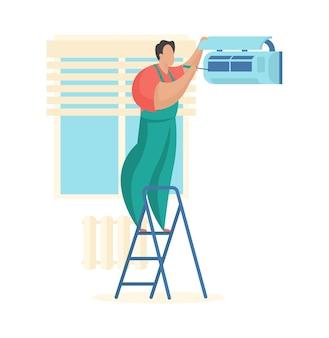 Le maître nettoie le climatiseur service technique pour l'entretien des systèmes de ventilation