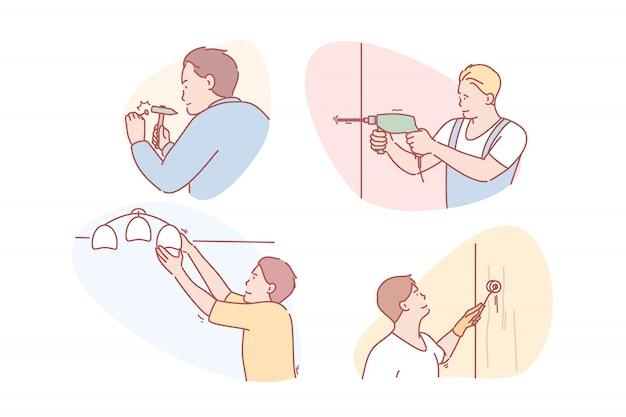 Maître, service, réparation, entreprise, rénovation, ensemble