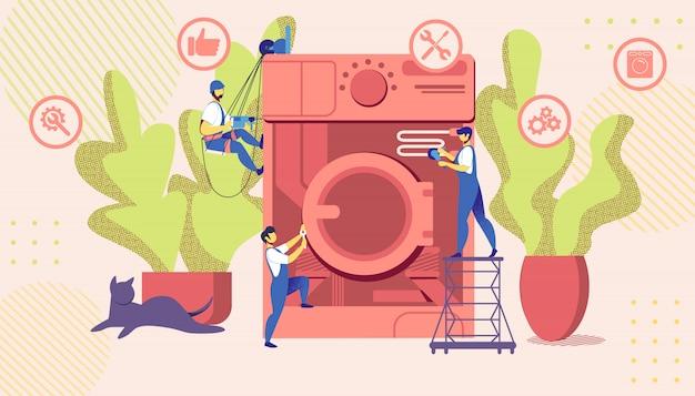 Maîtres de groupe réparant une machine à laver cassée énorme