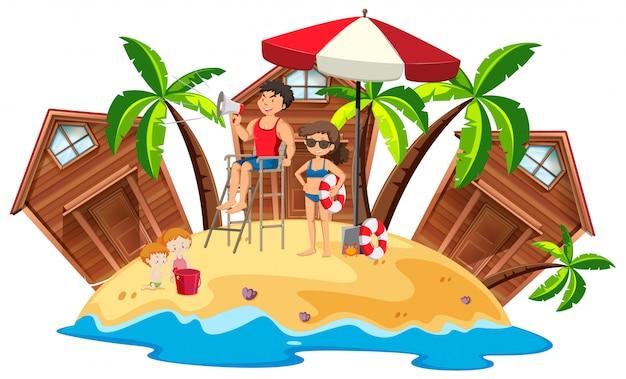 Maîtres nageurs, sur, plage, île