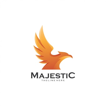 Majestic bird hawk eagle falcon wing logo