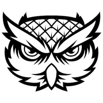 Majestueux oiseau de sagesse owl tête mascotte logo