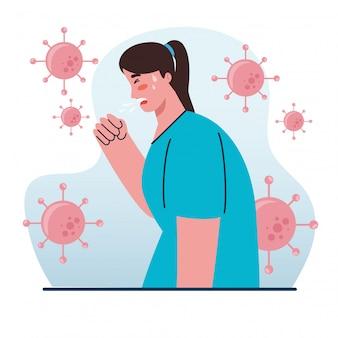 Maladie de la femme toux, symptôme coronavirus, problème de santé, coronavirus covid 19, femme se sentant malade, toux