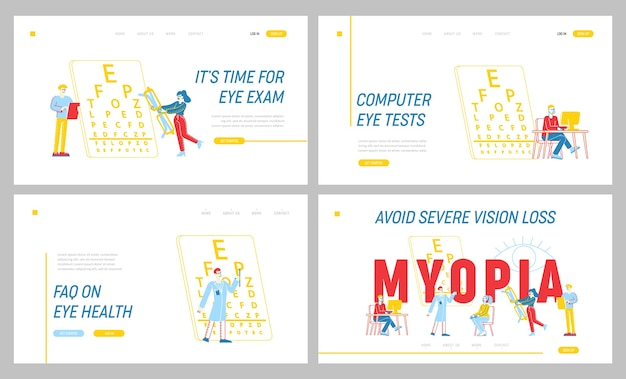 Maladie de la myopie, ensemble de modèles de page de destination de traitement opticien