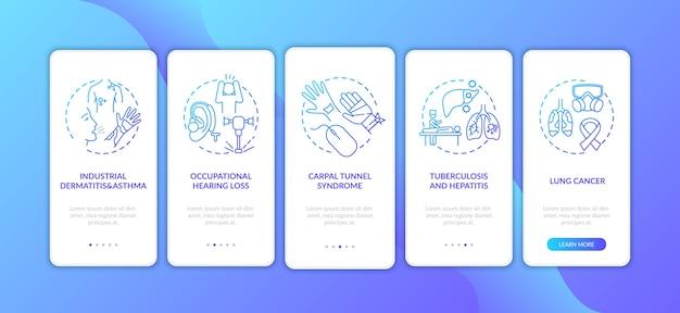 Maladie professionnelle à l'embarquement sur l'écran de la page de l'application mobile avec des concepts.