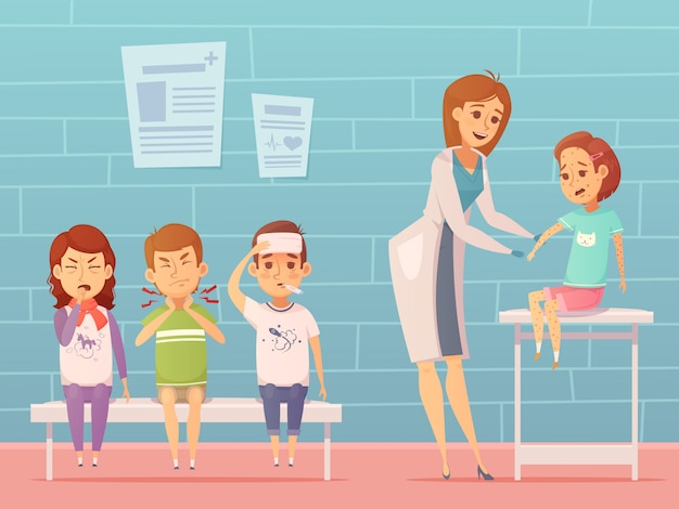 Maladies des enfants à la composition du bureau de médecins avec des personnages de dessins animés malades